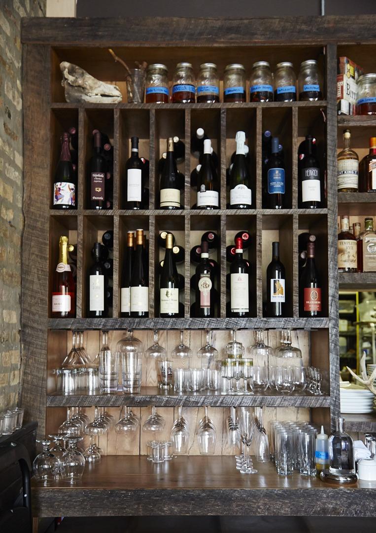 Table, Donkey and Stick Back Bar Shelving