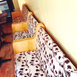 Reclaimed and Reupholstered Church Pews at Cafe Monsivais