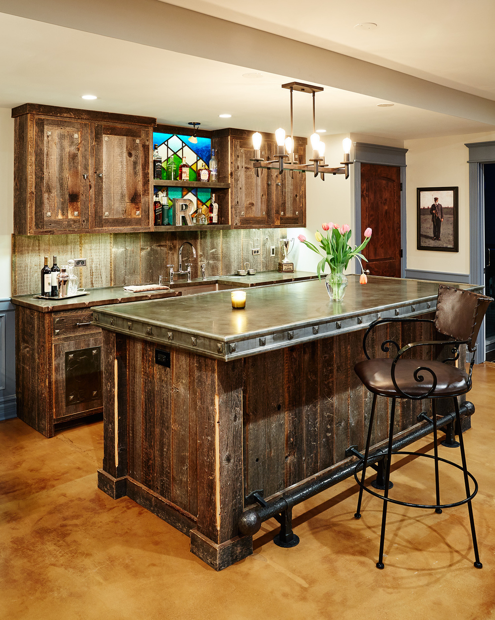 Reclaimed Barn Wood Bar with Zinc Bar Top
