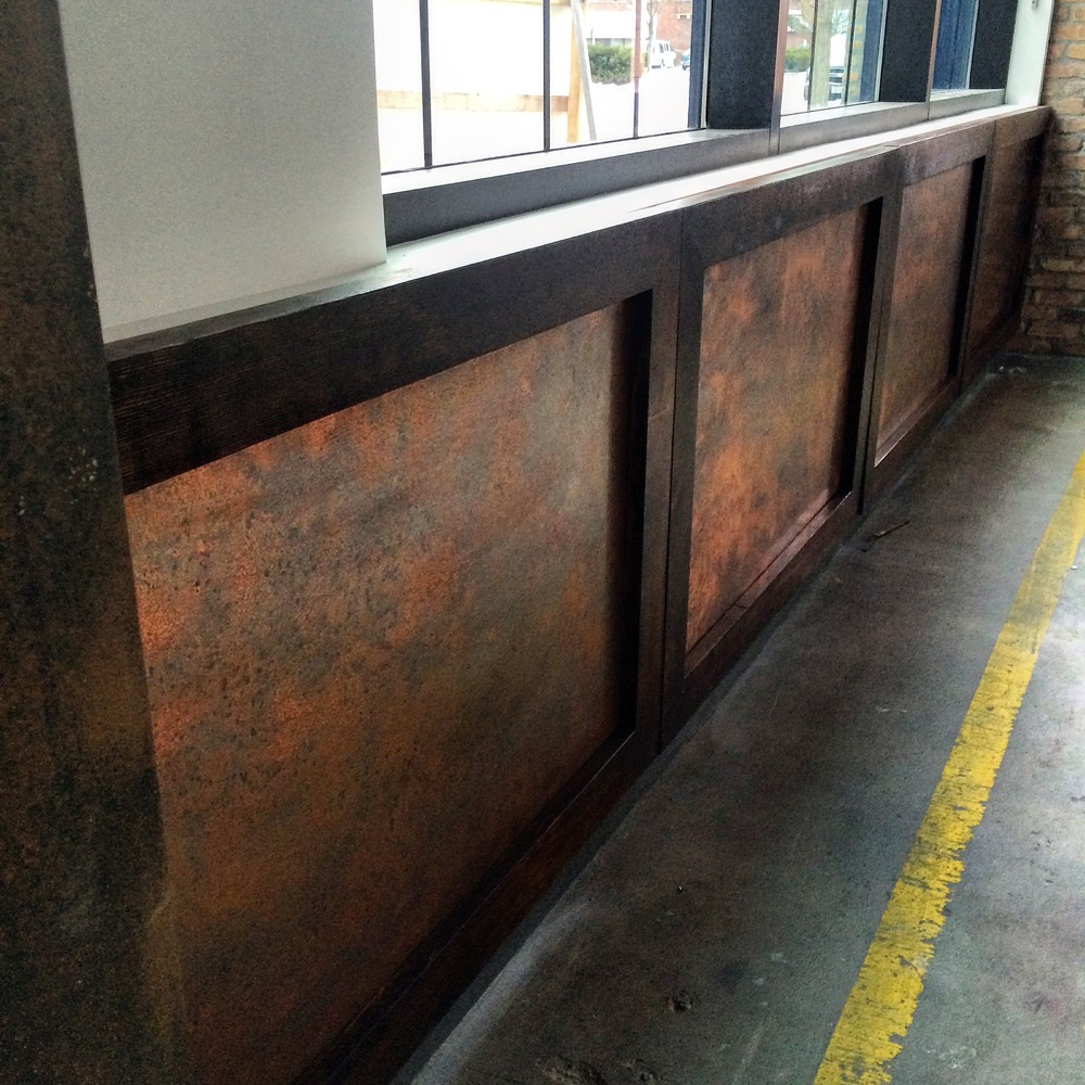 Handcrafted Copper Paneling for Office Foyer/Reception Area