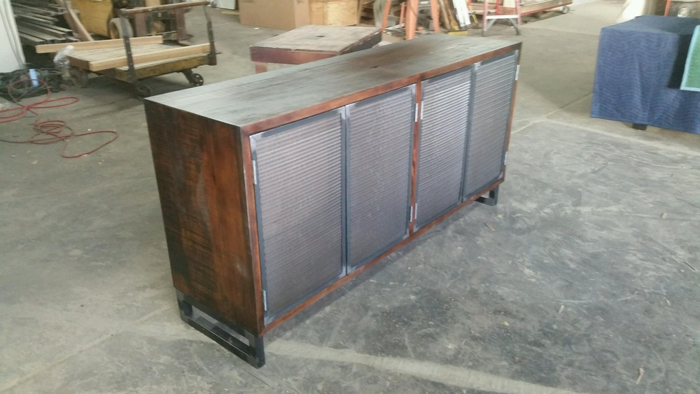 Speaker Credenza with Metal Mesh Doors