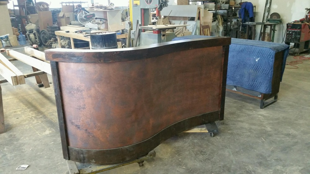 Handcrafted Reception Desk with Matching Copper