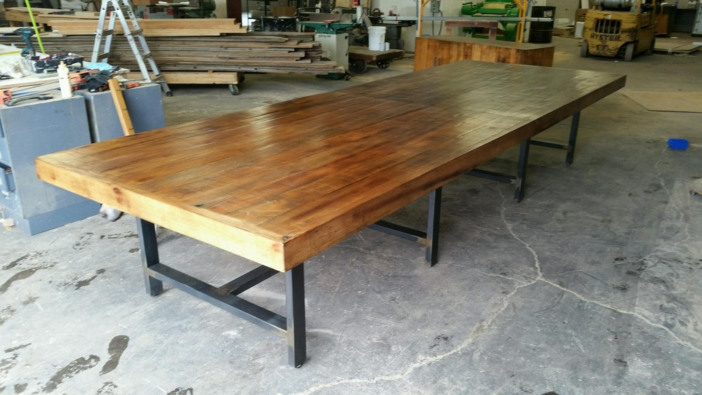 Extra Large Conference Room Table with Metal Welded Base