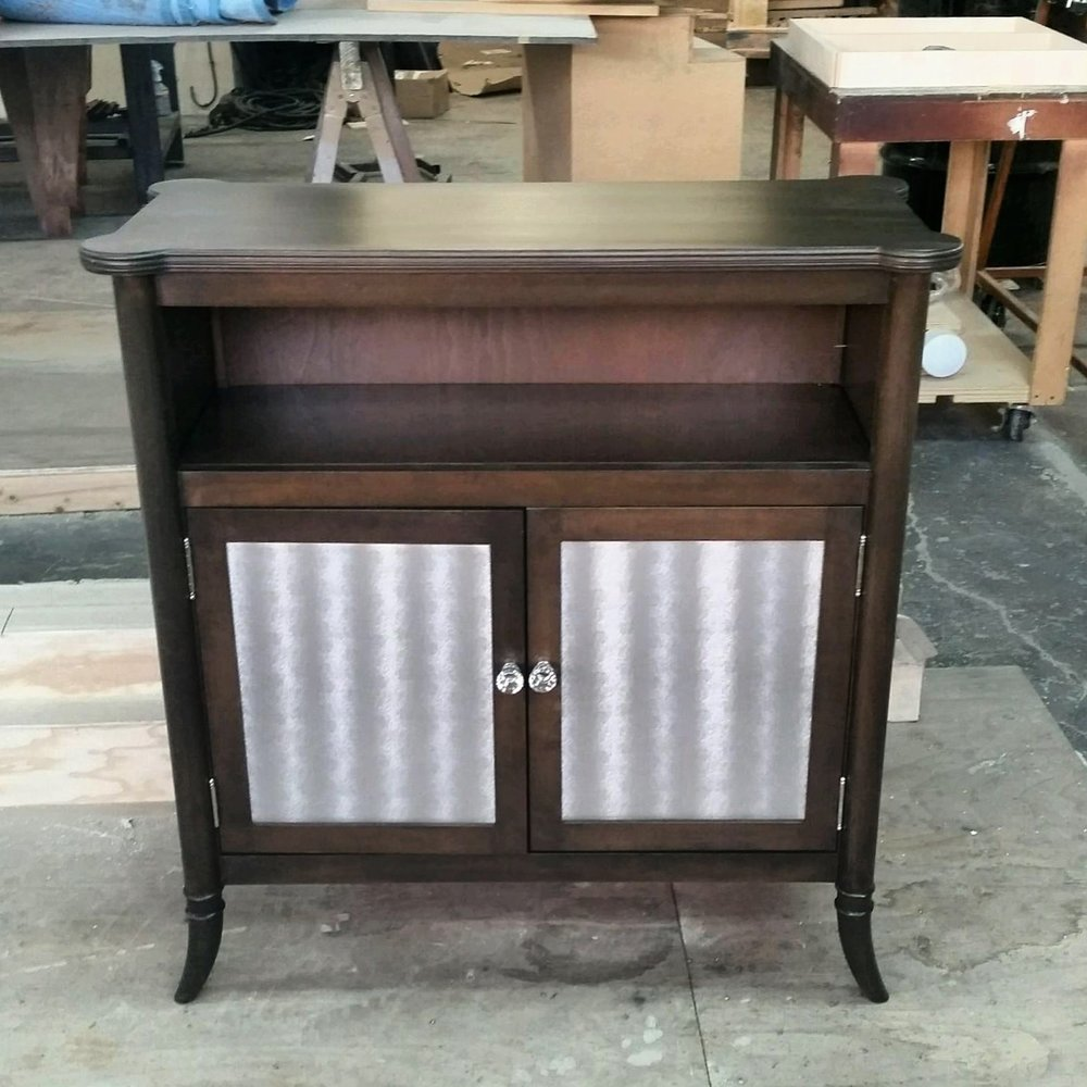 Tiny Custom Cabinet with Upholstery