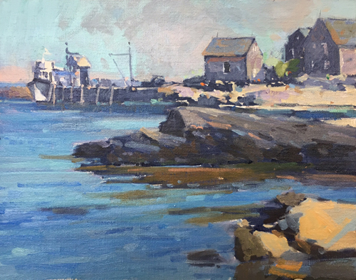 'Monhegan Harbor' 8x10 Oil SOLD