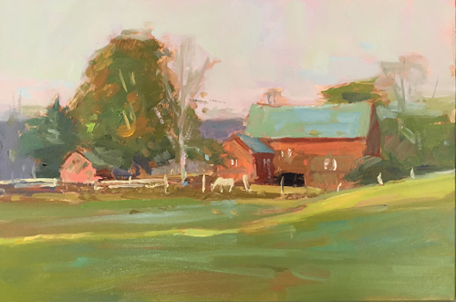 'Late Summer Farm' 6x9 Oil