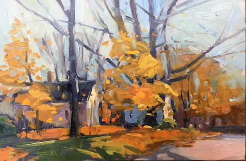 'Falling Leaves' 6x9 Oil