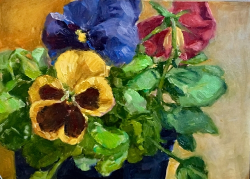 'Pansies' 5x7 Oil $400