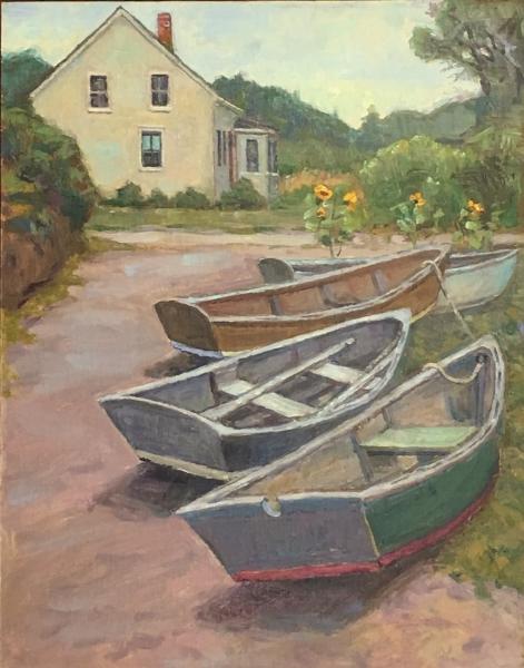 'Boats On Swim Beach' 14x11 Oil SOLD