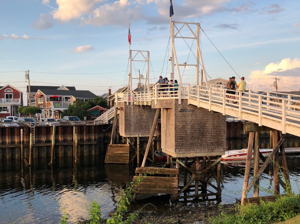 The manually operated draw footbridge in Perkins Cove is one of the most photographed in Maine.