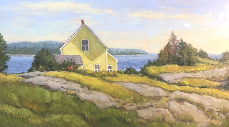 Recently commisioned painting 'The Yellow House-Stonington' 18x32 Oil on Linen by Pamela Lussier