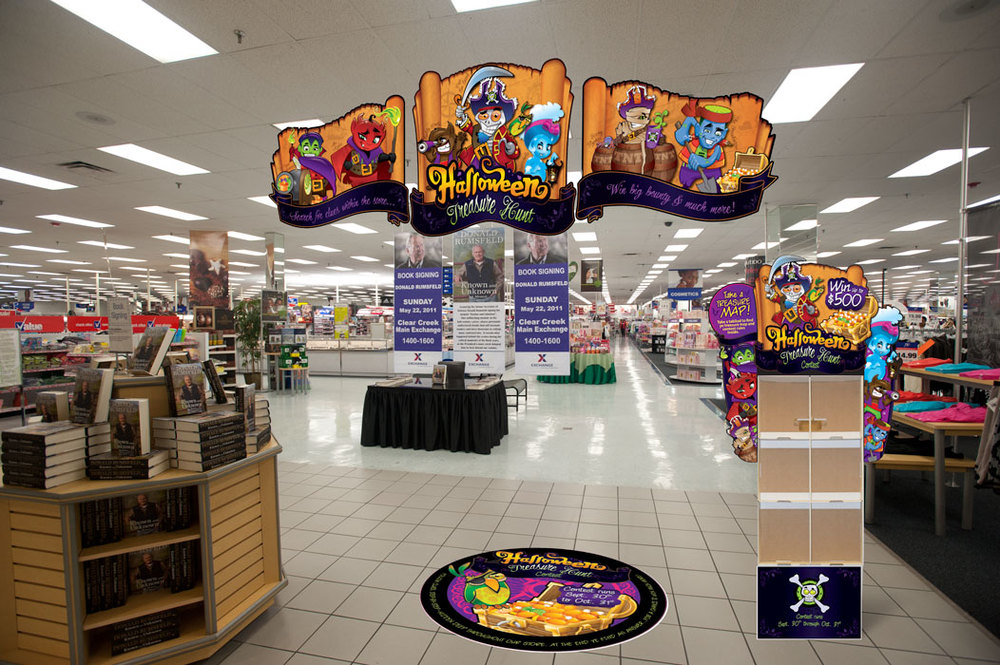 Halloween campaign focal signing and floor decal.