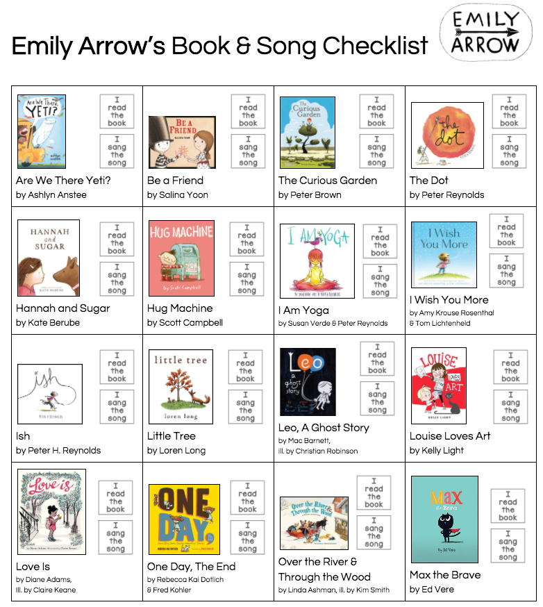 FREEBIE - A fun checklist to keep track of your Emily Arrow songs!