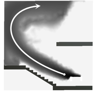 CFD of smoke over stairs