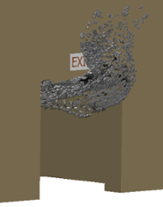 CFD exit sign with smoke vectors