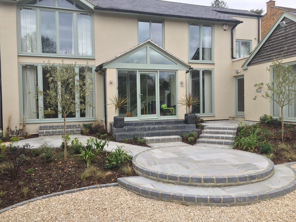 Front garden and driveway build to soften house