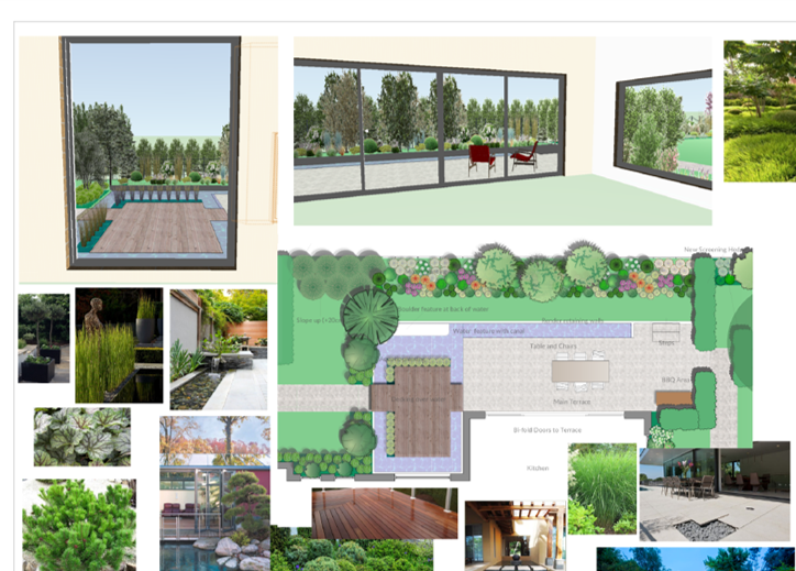 Example of mood board and concept design stage with some 3D CAD images