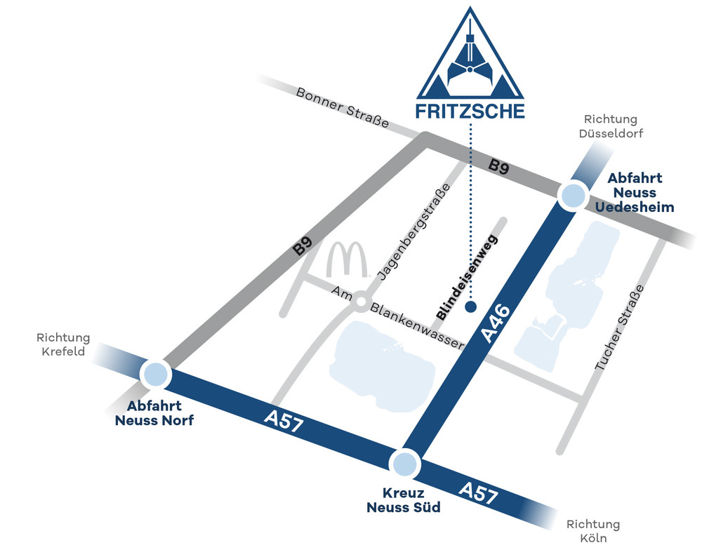 Fritzsche Neuss Anfahrtsskizze