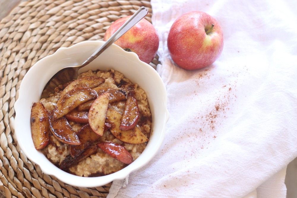 Cinnamon Apple Maple Oatmeal. Perfect for fall!