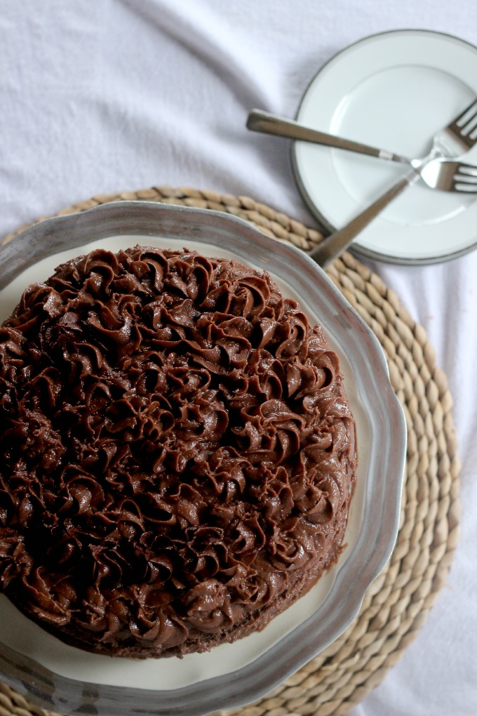 Double Chocolate Cake with Peanut Butter Chocolate Frosting