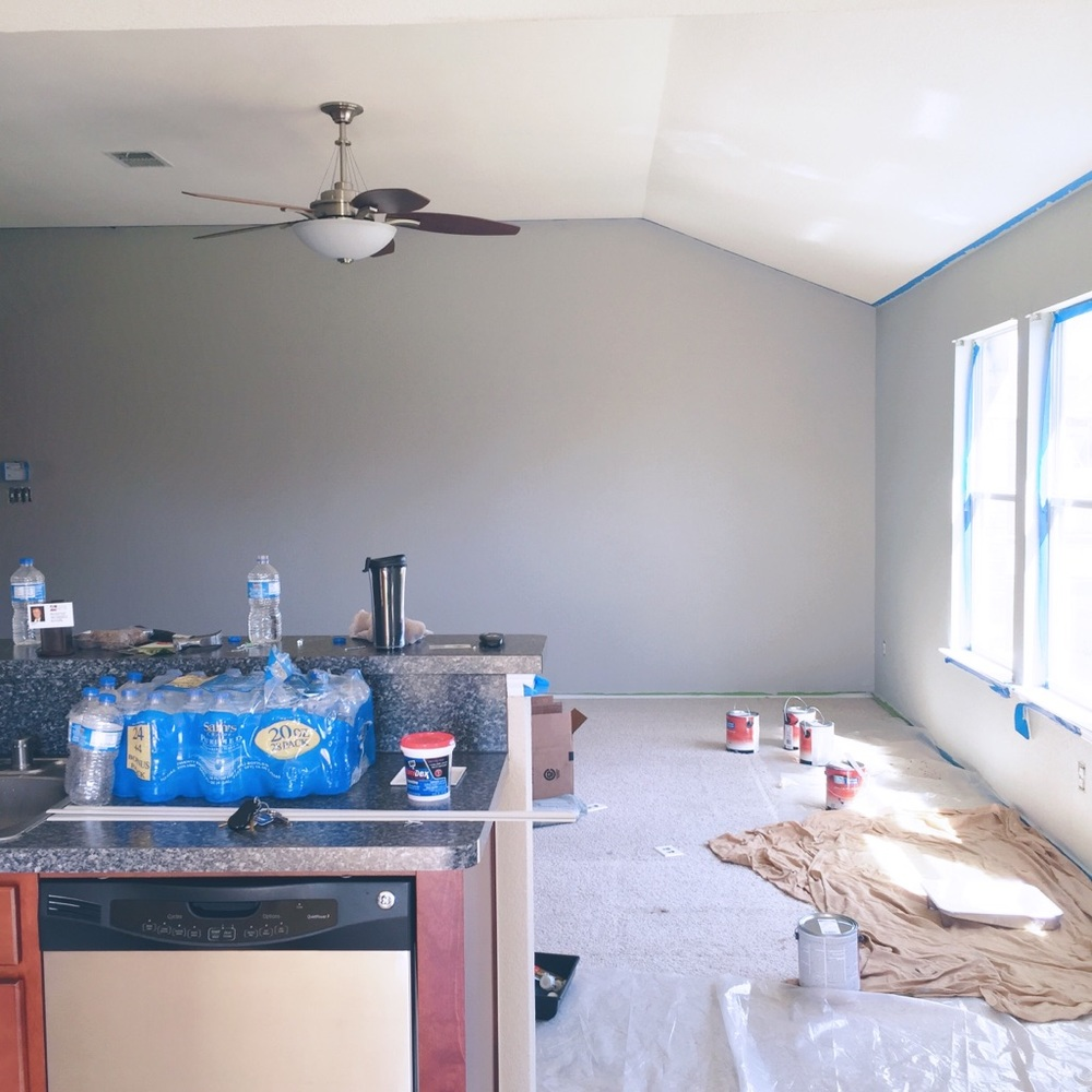Living room color is Sherwin Williams Mindful Gray