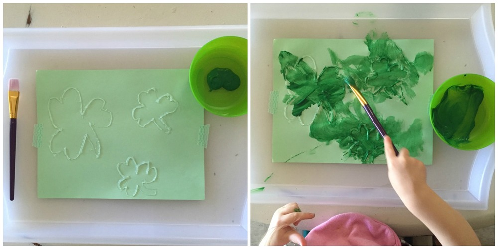 painting shamrocks for St. Patrick's Day