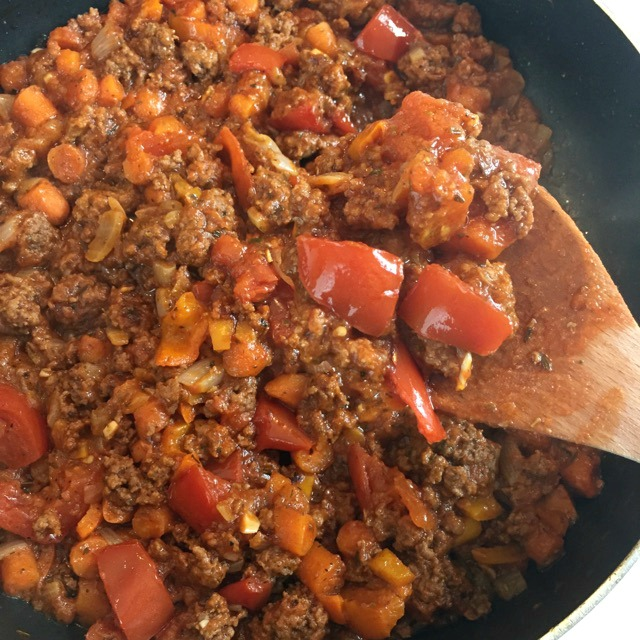 Veggie Packed Meat Sauce recipe for a simple dinner and perfect for freezing ahead!
