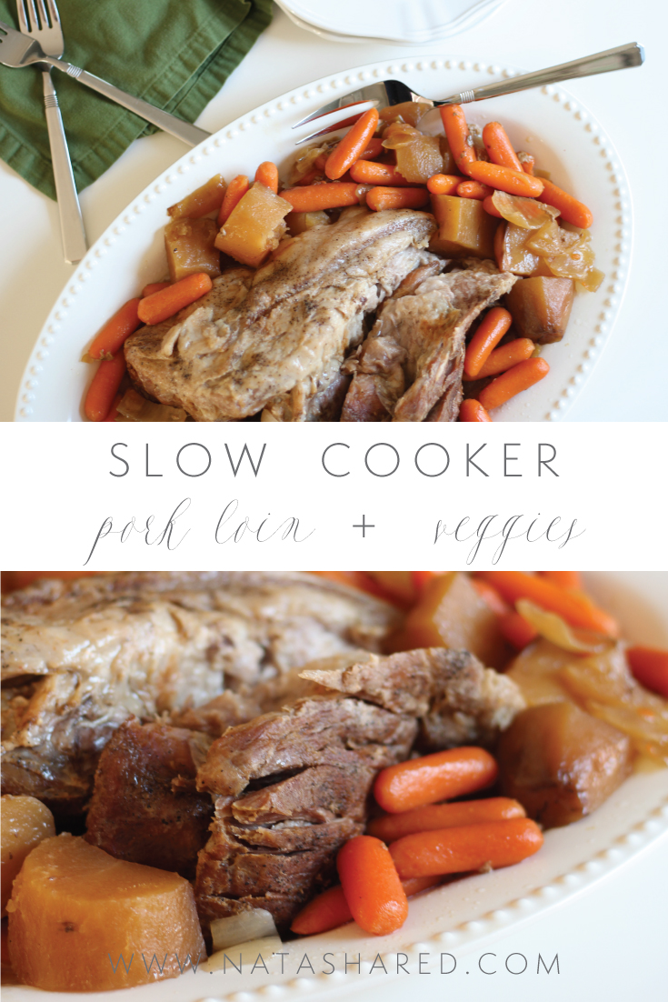 Yummy and simple pork loin and vegetables slow cooker meal for your fall dinner rotation // Natasha Red Blog