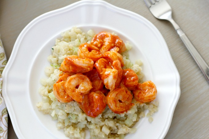 Red Shrimp + Garlicky Cauliflower Rice // Natasha Red