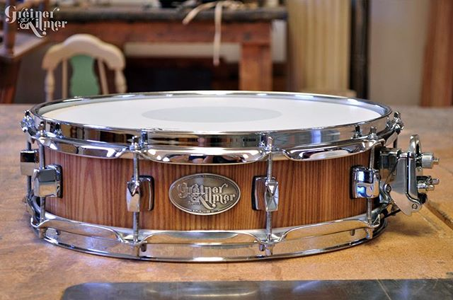 This shallow snare would make a great add-on to any kit. Find it through the link in our bio, alongside all other drums for sale. #greinerkilmer #customdrums #stavedrums #cybermonday