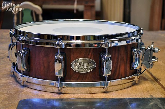 "This drum is going out to a customer as a belated birthday gift! It's a 5.5x14"" walnut snare with die-cast hoops. Truly beautiful in sound and sight. ⠀ ⠀ If you're looking for a gift for a drummer in your life, follow the link in our bio to see what drums we have available for sale. It's your last chance to buy a GK snare before we close up shop. #greinerkilmer #customdrums #stavedrums #cybermonday"