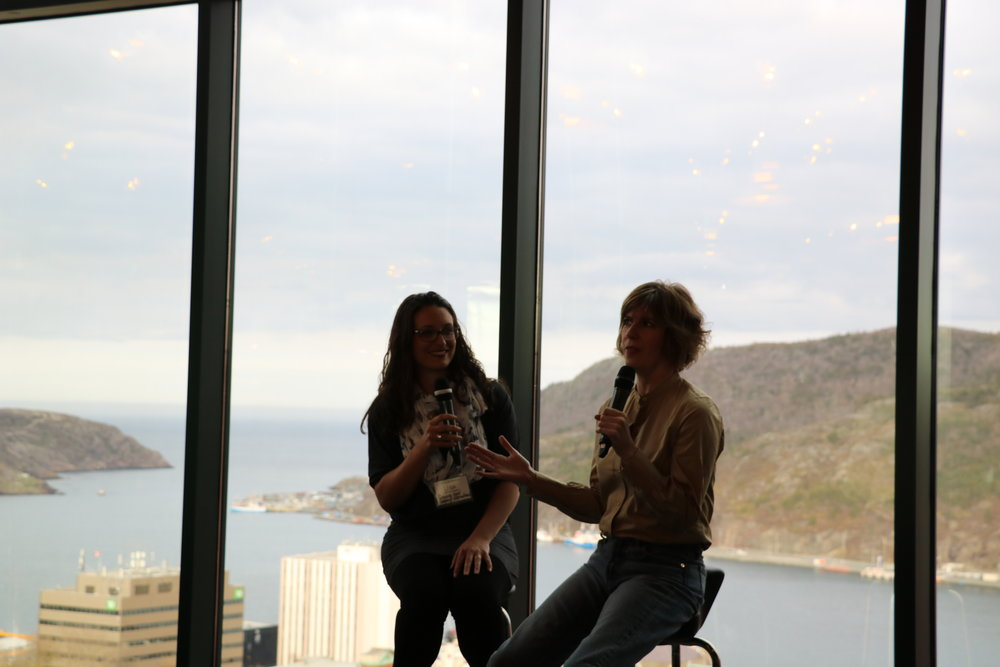 Lisa Cashmore (left) and Kelly Hoey discuss building a network during their fireside chat, at The Rooms.