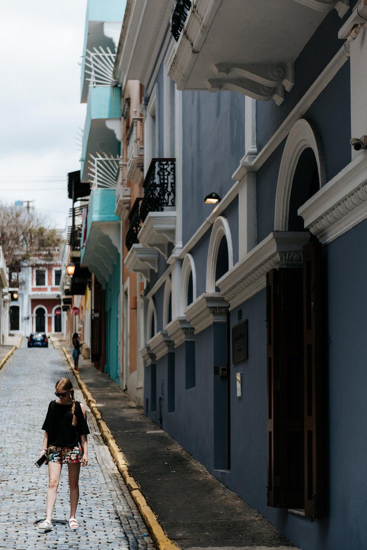 Girl poses in Old San Juan Puerto Rico