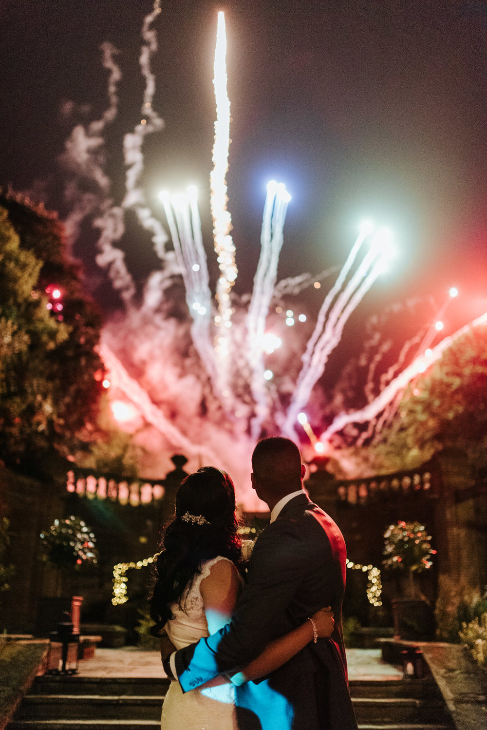 Bride and groom enjoy magnificent display of firefowrks at Woldi
