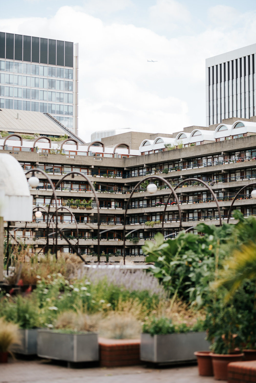Wide photograph of brutalist architecture near barbican centre