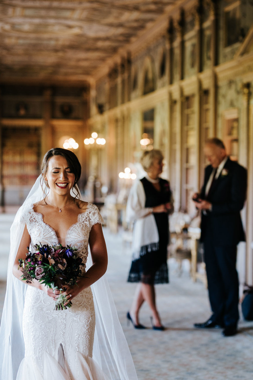 Bride can't contain her excitement and joy minutes before ceremony