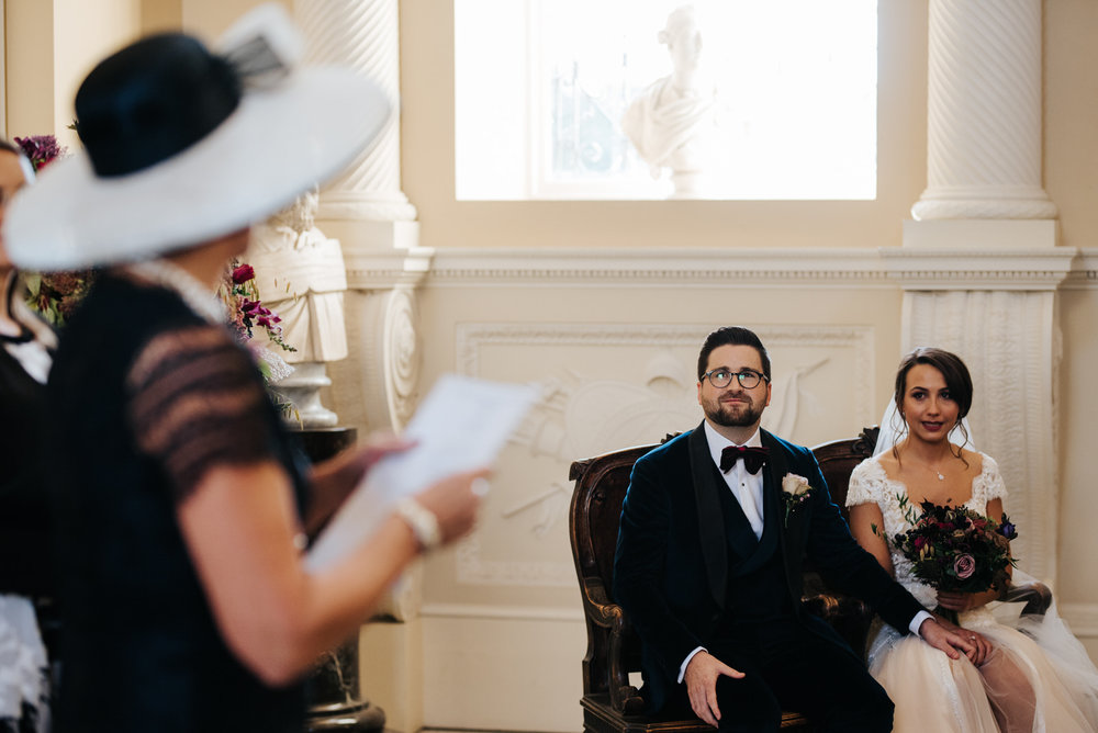Bride's mum performs a reading during wedding ceremony at Syon House