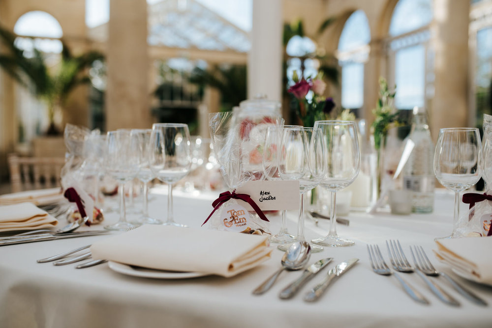 Close-up of table and decoration at Syon House Great Conservatory