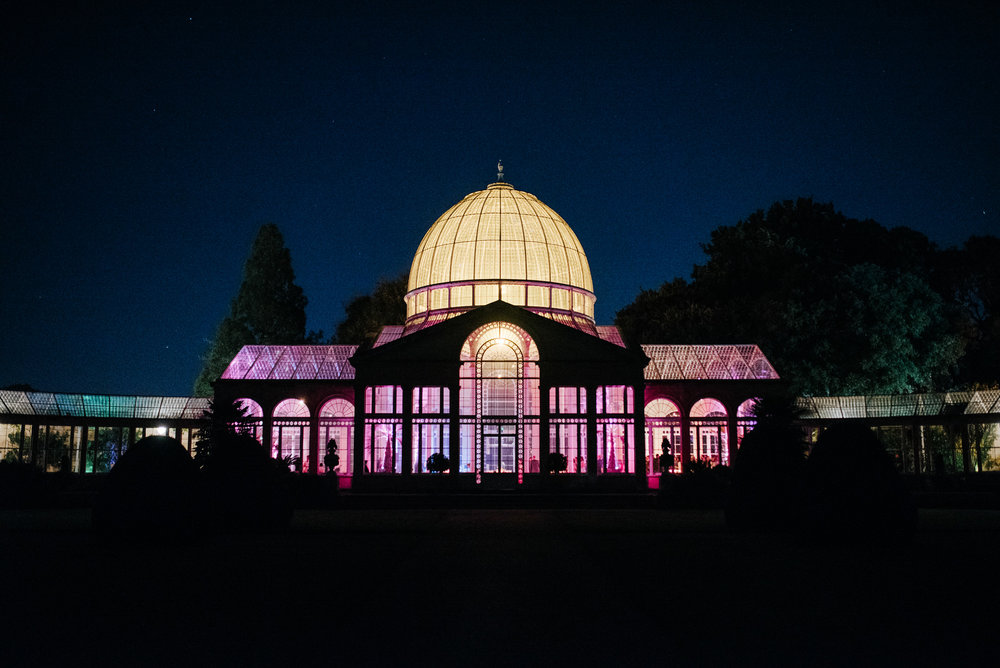 Night-time venue photograph of Syon Park's Great Conservatory