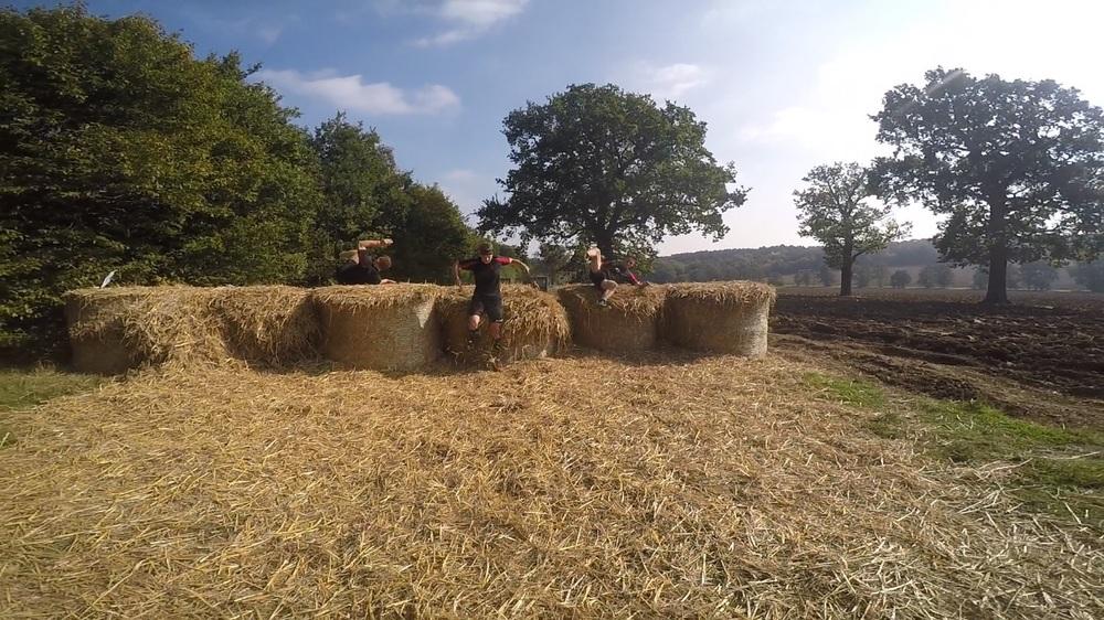 Hay bale hurdles
