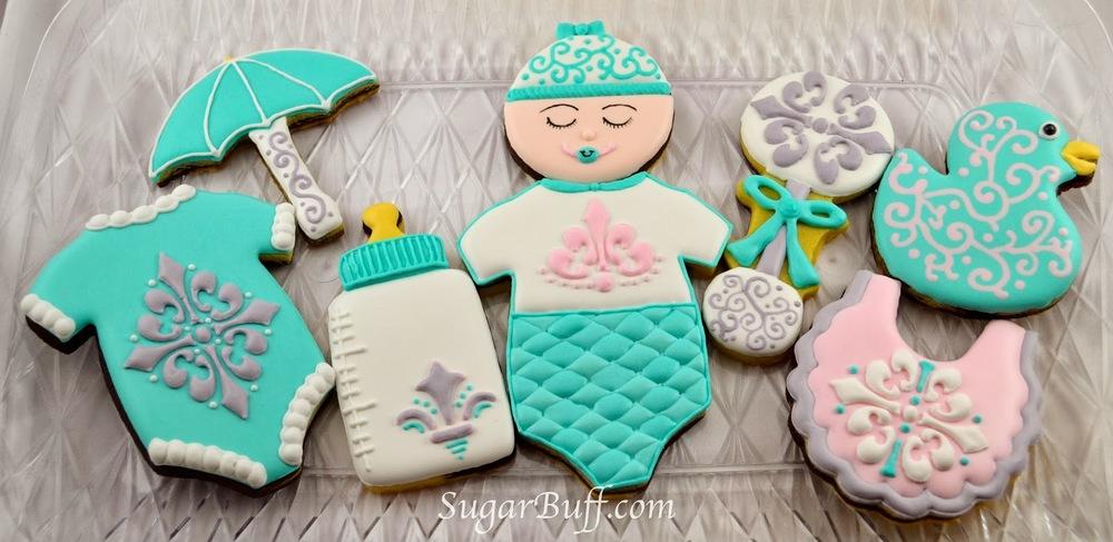 Damask Baby Shower Cookies Sugar Buff Bake Shop