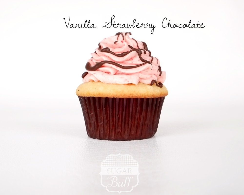 Vanilla Cupcake with Strawberry Buttercream Frosting and a Chocolate Drizzle