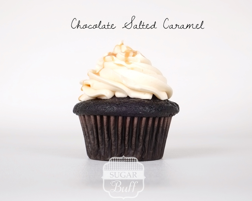 Chocolate Cupcake filled with salted caramel and topped with salted caramel frosting and a caramel drizzle