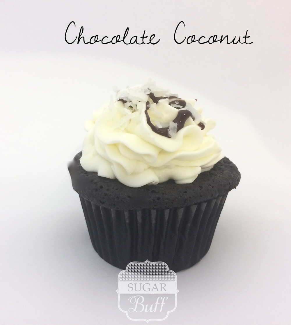 Chocolate Cupcake with Coconut Buttercream frosting and topped with coconut and a chocolate drizzle
