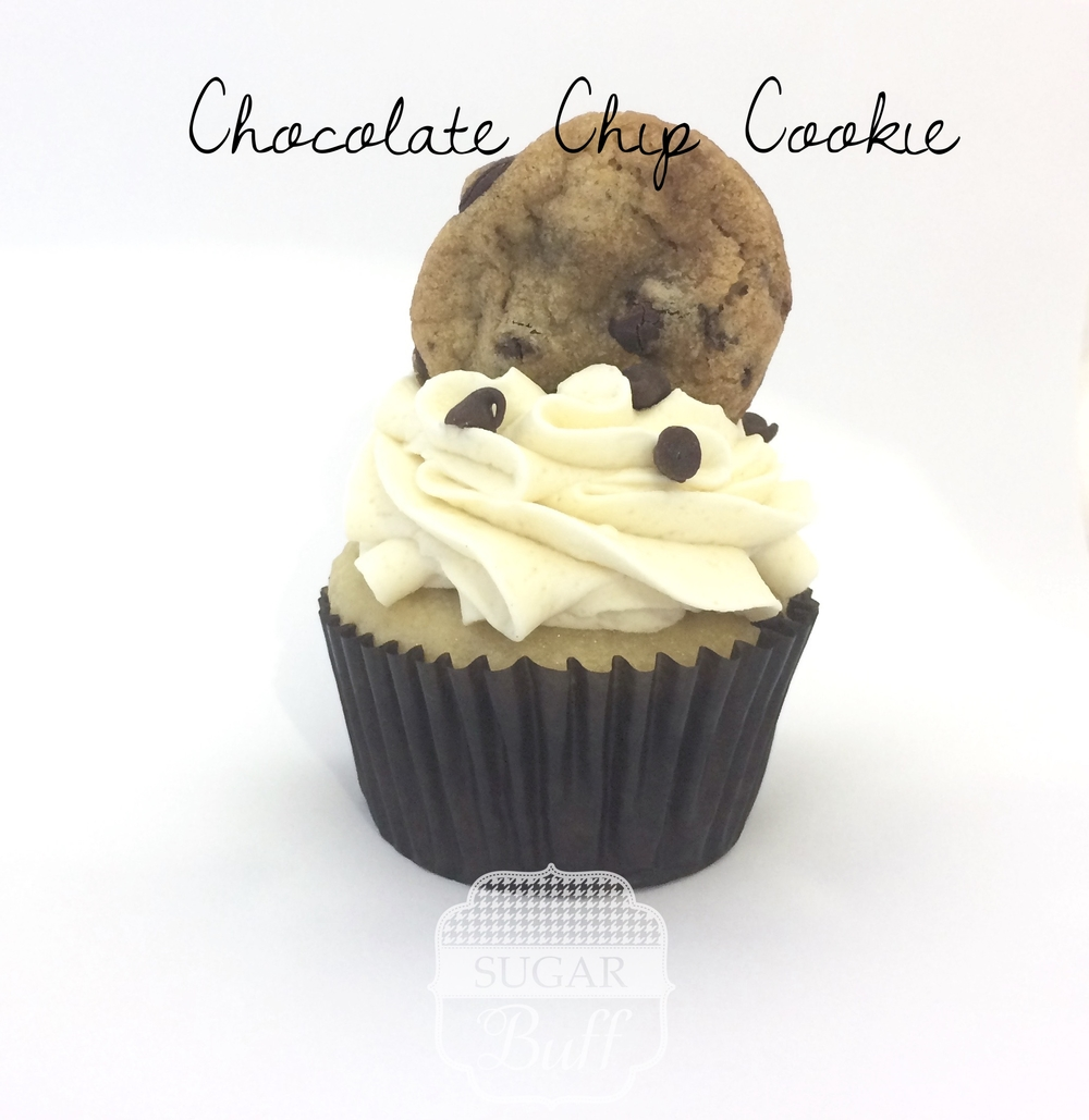 Chocolate Chip Cupcake with Vanilla Brown Sugar Frosting and topped with a chocolate chip cookie