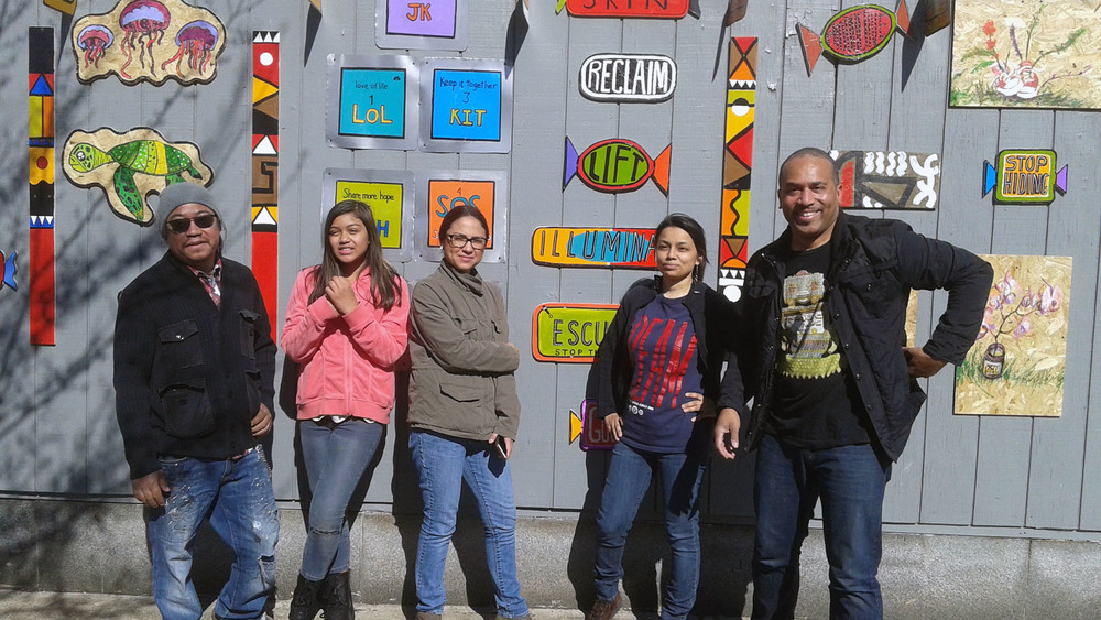 Drive by Artists: (from left to right) Mynor Paredes, Andrea Paredes, Sandra Lara, Luz Maria Castillo, and Derric Clemmons.