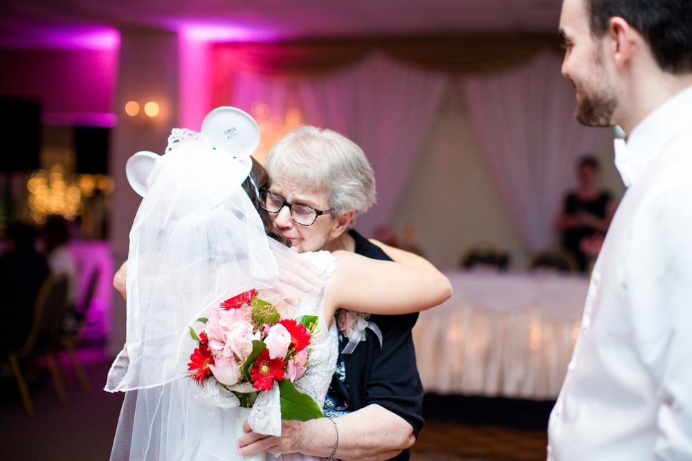 Instead of having a bouquet toss, Allie + Marty gave Marty's grandma her bouquet.