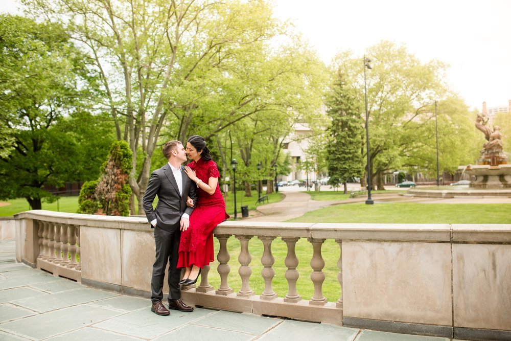 pittsburgh wedding photographer, pittsburgh engagement photographer, oakland engagement photos, pitt engagement photos, frick fountain, henry clay frick building