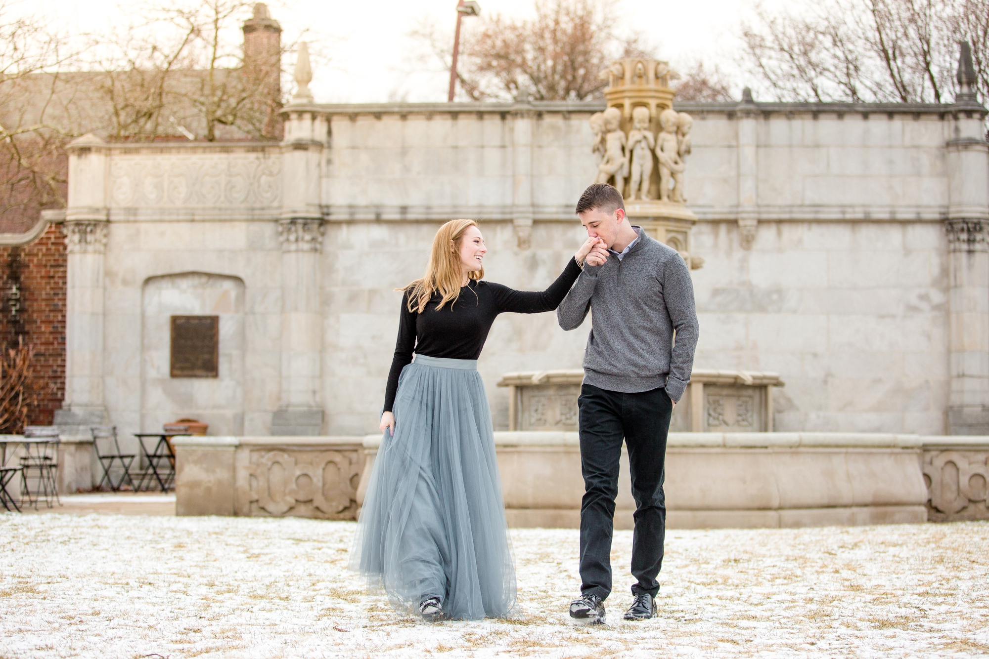 Hilary Luke Mellon Park Winter Engagement Photos Jenna