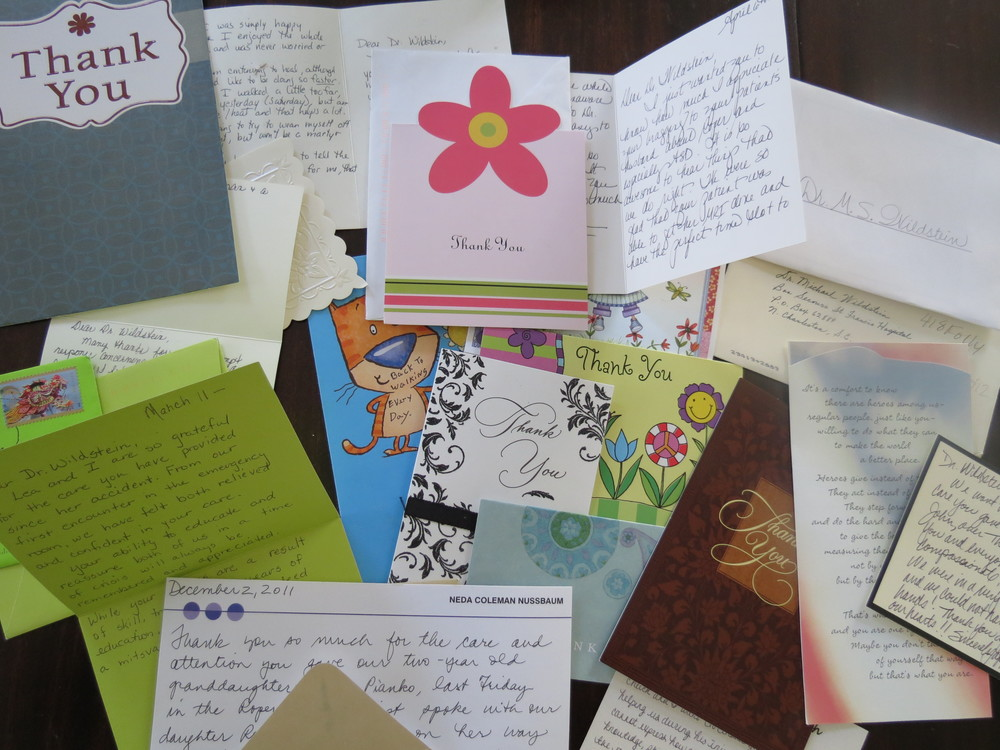 Just a few of the thank you cards and letters Dr. Wildstein and his staff receive each week from happy patients.